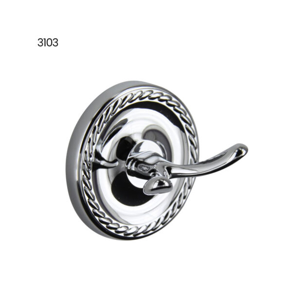 3103: Twin Prong Robe Hook - Chrome